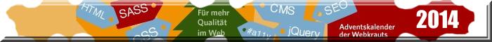 Banner des Webkrauts-Adventskalender - buntes Puzzle und diverse Texte