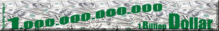 Unzählige Dollarscheine und Schriftzug 1 Billion Dollar in Wort und Zahl