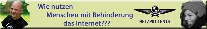 """Logo: Netzpiloten.de sowie Portraits von Anna Maria Landgraf und Jan Hellbusch mit Schriftzug: """"Wie nutzen Menschen mit Behinderung das Internet?"""""""