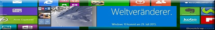 """Windows Metro-Oberfläche mit Ankündigung: """"Weltveränderer; Windows 10 kommt am 29. Juli 2015 """""""