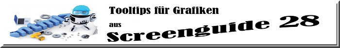 """Schriftzug: """"Tooltips für Grafiken; aus Screenguide 28"""". Collage aus einem Roboter, Werkzeug, Notebook und Schrauben."""