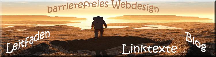 """Einsamer Astronaut auf dem Mond vor einem Sonnenuntergang. Text: """"Linktexte, Blog, barrierefreies Webdesign und Leitfaden"""""""