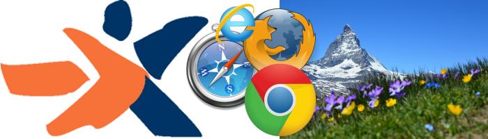 Collage aus dem Logo der Stiftung Zugang für alle, vier Icons der gängigen Browser und ein Foto des Matterhorns