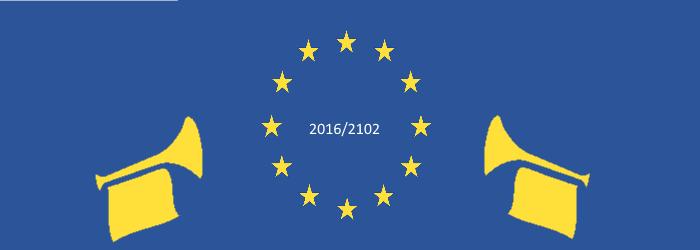 Die Europaflagge mit Fanfaren und der Beschriftung 2016/2102